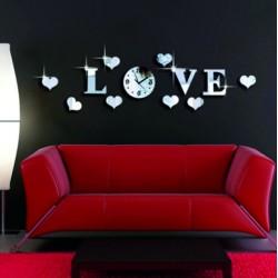 Hodiny na zeď nalepovací LOVE