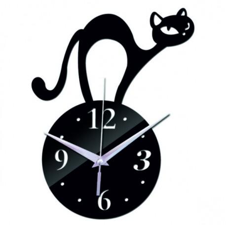 Nástěnné hodiny kočka (zrcadlové hodiny na stěnu kocour) SIMON