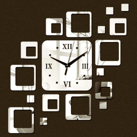 Nalepovací hodiny na stěnu moderní čtverec 50x40cm FIGARO