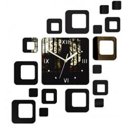 Nalepovací hodiny na stěnu moderní čtverec 50x40cm FIGARO ZRKADLO