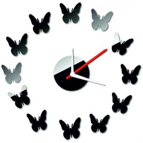 Moderní nástěnné zrcadlové hodiny motýl 40x 40 cm CMELFREGIF