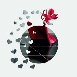 Nástěnné hodiny zrcadlové anděl nalepovací srdce DIY RAFAEL