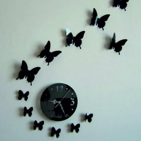 Nástěnné hodiny nalepovací zrcadlo motýl LUNA