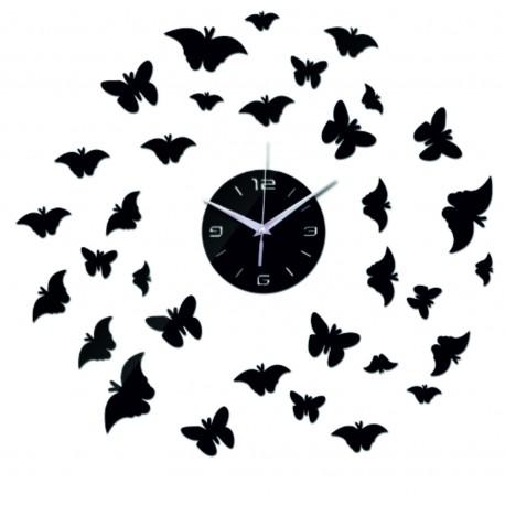 Nástěnné zrcadlové hodiny na stěnu DIY motýlové