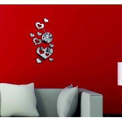 Moderní nalepovací nástěnné zrcadlové hodiny na stěnu srdce 45 x 40 cm LÁSKA