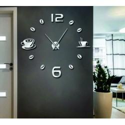 Hodiny na zeď nalepovací káva DIY rubín