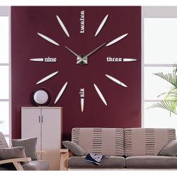 Velké nástěnné hodiny nalepovací zrcadlové 3D DIY SIX