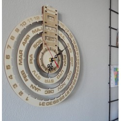 SENTOP Dřevěný kalendář + hodiny ze dřeva gravírované laserem JOGBEL PR0161 topol