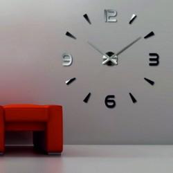 Nástěnné hodiny zrcadlové nalepovací 3D DIY pěna Huawei