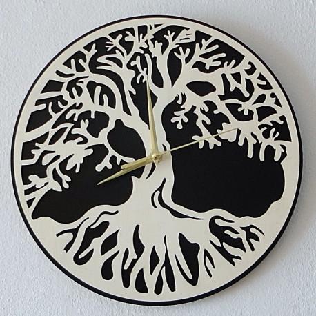 Nástěnné hodiny strom života provedení překližka topol a černá MDF