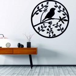 Dřevěný obraz na stěnu z překližky už je jaro štěbetání ptáka