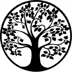 Moderní obraz na stěnu strom kruh z dřevěné překližky topol LONITIF