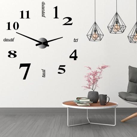 Nástěnné hodiny Kytara moderní nalepovací zrcadlové hodiny DIY GITARA