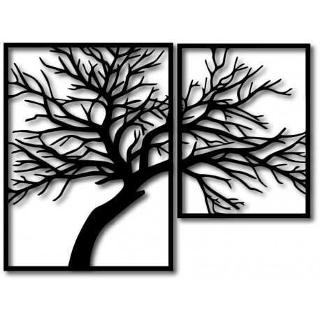 STYLESA Dřevěný obraz na stěnu překližka Obraz se skládá ze dvou částí OLGA i černý PR0220