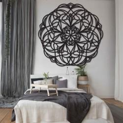 Květ vyřezávaná mandala dřevěný obraz na stěnu z překližky