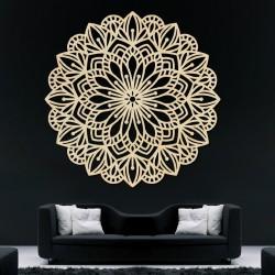 Vyřezávaný květ mandala dřevěný obraz na stěnu z překližky