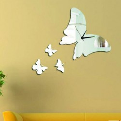 Moderní nalepovací nástěnné zrcadlové hodiny motýlek PERIAD