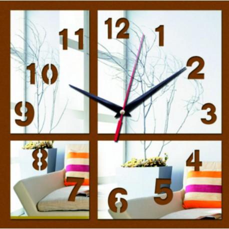 Moderní nalepovací nástěnné zrcadlové hodiny na stěnu černé