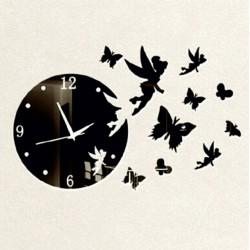 Stylesa Nástěnné hodiny pro děti motýl a víla IA159S Jasminka i černé