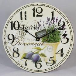 Dřevěné hodiny kruh levandule 30 cm