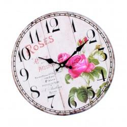 Dřevěné hodiny obraz ROSE. Fi 34 cm
