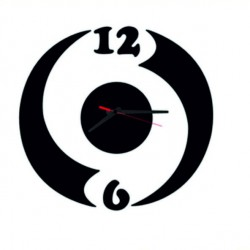Moderní nalepovací hodiny ludka, černá barva KIRTOFS
