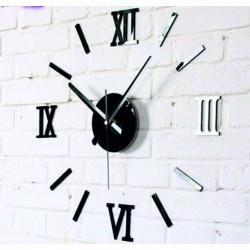 SENTOP Moderní nalepovací hodiny na stěnu římská čísla černé Fi 55 cm Romanka IA-192-B
