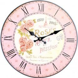 Kulaté hodiny ze dřeva růžový paříž MDF. Fi 34cm