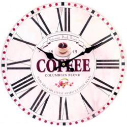 Nástěnné hodiny z dřeva raná kávička MDF. Fi 34 cm HODINY FAFFE