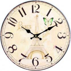 Hodiny ze dřeva paříž a věž MDF. Fi 34 cm