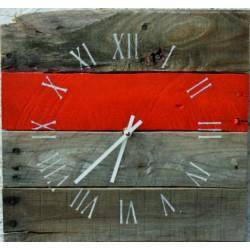 SENTOP Nástěnné hodiny rímske s červeným pásikom drevené