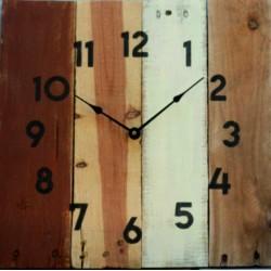 Hodiny masiv dřevěné rustikální moderní hnědé SOFIA
