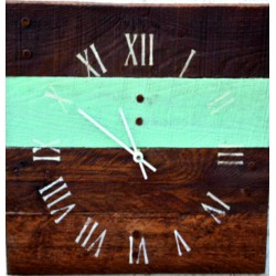 Dřevěné hodiny na stěnu římské modrá čára ROMA