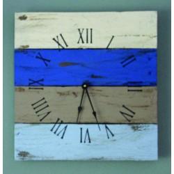 Hodiny ze dřeva na stěnu pestré, modrá LAGÚNA