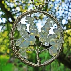 Přívěsek z polodrahokamu - měsíční kámen - strom - BENCH
