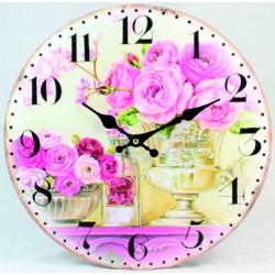 Nástěnné hodiny růžové růže mém domě MDF Fi 30 cm
