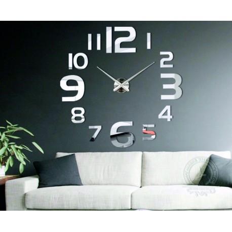 Moderní nalepovací zrcadlové nástěnné hodiny Quartz. Velké zrcadlové hodiny do koupelny, obýváku i kuchyně.